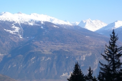 View of Nax, from the other side of the Rhone Valley